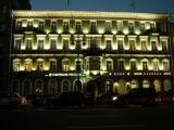 Night illumination of a building on the Neva avenue