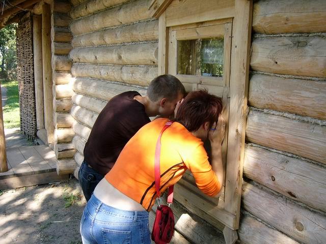 наблюдатели - дети смотрят в окошко домика