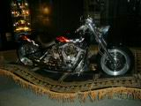 A motorcycle in the foyer